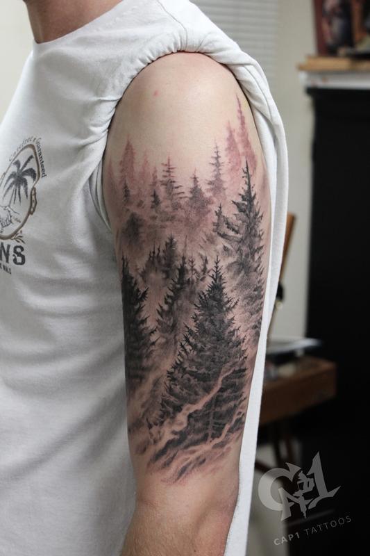 Tattoo Forest Mountain Sleeve Half