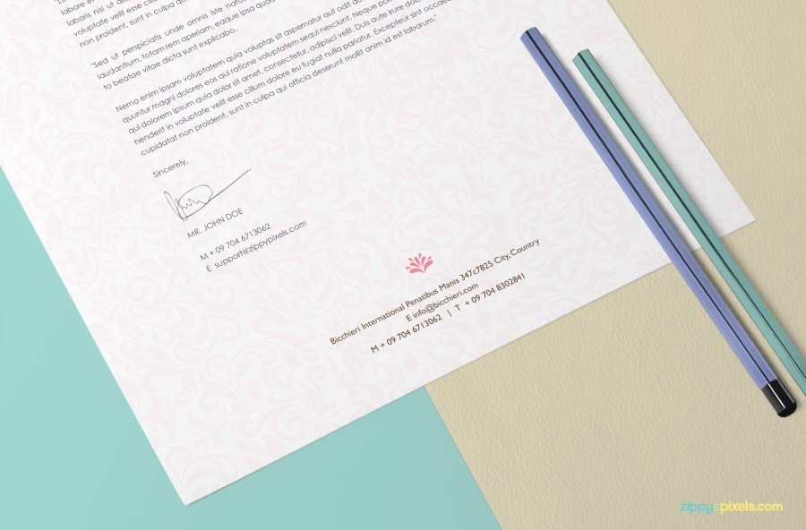 Free US Letter Size Paper Mock Up   ZippyPixels a beautiful way to showcase your letterhead and art designs