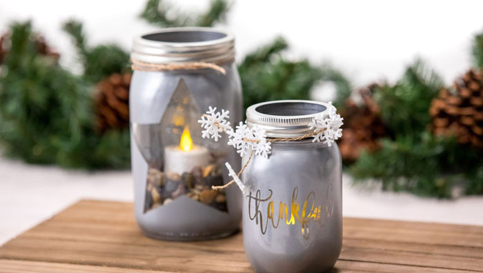 The photo shows - DIY Christmas decorations, fig. Lantern with a candle