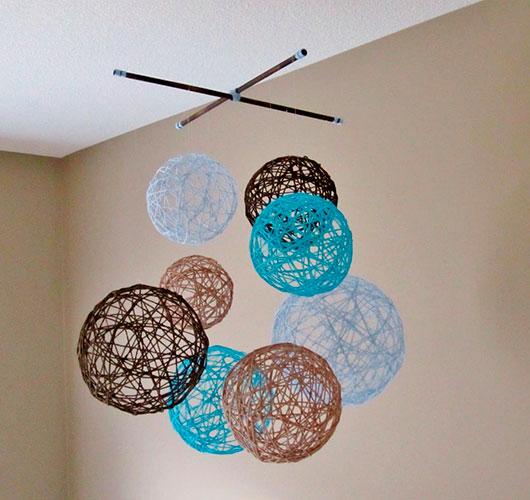 На фото изображено - Необычный декор: шары из нитей, рис. «Фонтанчик» из шаров 1