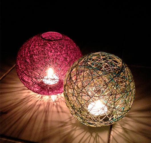 На фото изображено - Необычный декор: шары из нитей, рис. Плафон 2