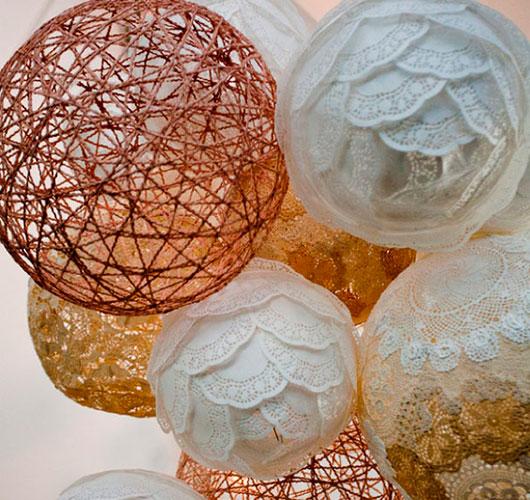 Фото-шоулар - ерекше декор: жіптер, күріш шарлары. Тостағандар декоры