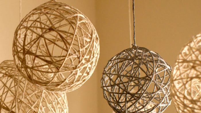 На фото изображено - Необычный декор: шары из нитей, рис. Простые шары